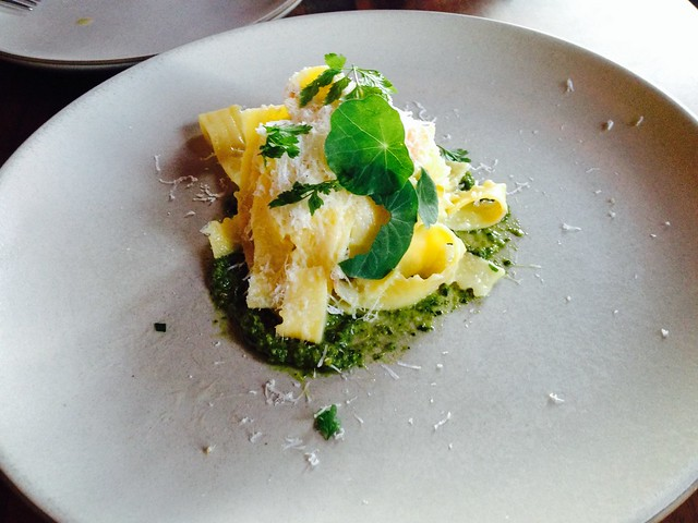 Trenette with nasturtium leaf pesto and capriago - Flour and Water