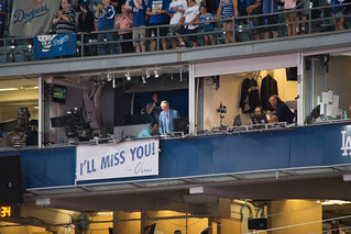 Vin Scully peaks out.