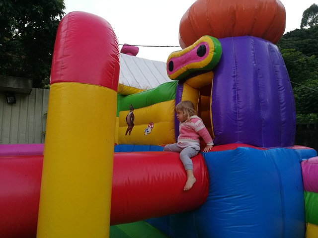 Leah on bouncy castle 1