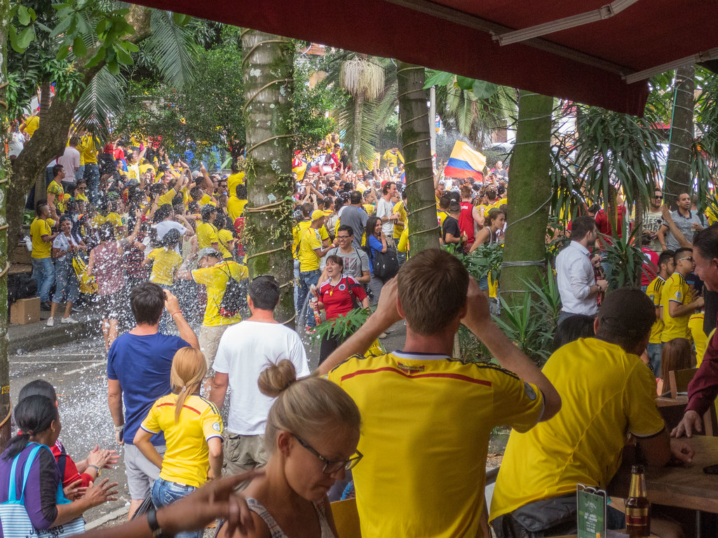 Colombia scores against Japan, and the crowd erupts