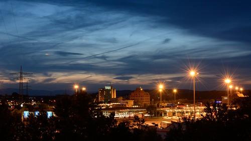 germany duitsland switserland night border crossing long exposure nikon d7100 35mm f18 nacht light lights sky lucht deutschland building gebouw avond donker dark 1000