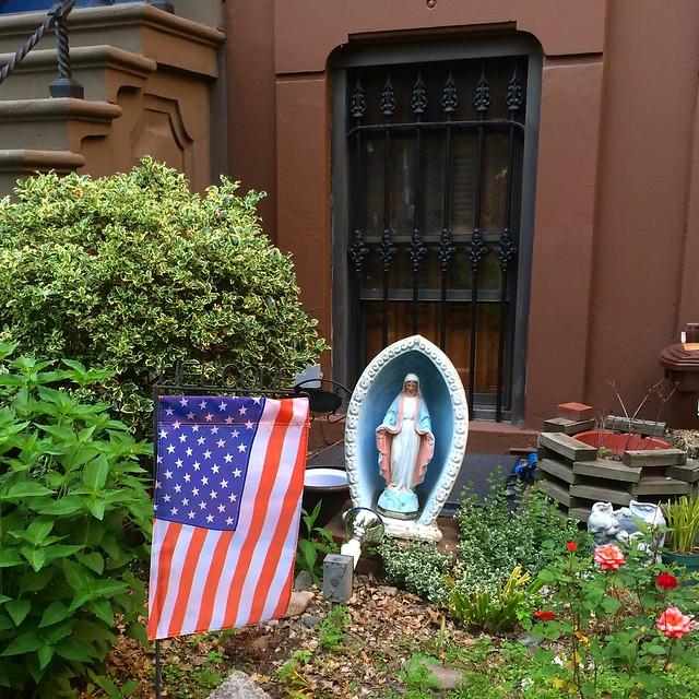 Madonna and flag