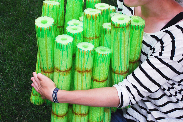 wild olive project bamboo style pool noodle stacking game
