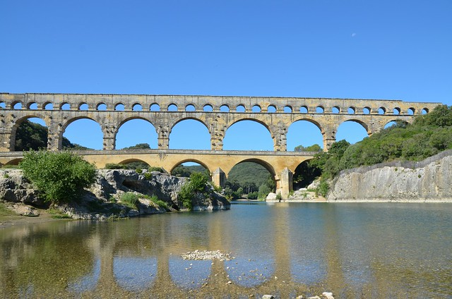 Pont du Gard, a 40-60 AD? Roman aqueduct bridge that crosses the Gardon River, part of the Nîmes aqueduct, France