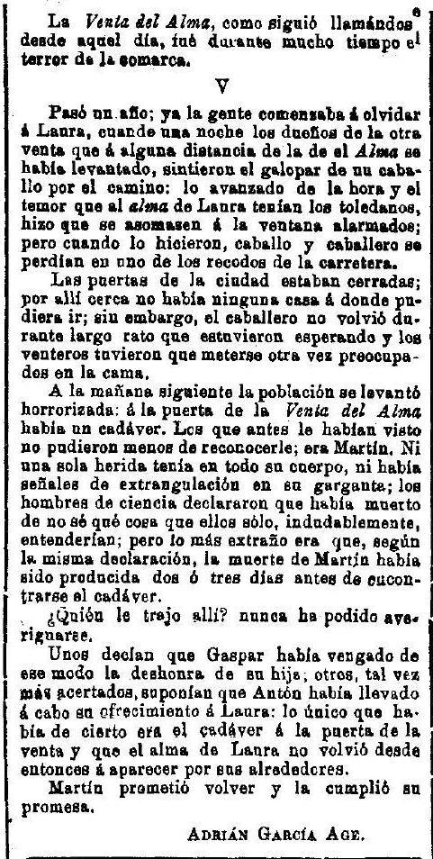 """""""La Venta del Alma"""", leyenda toledana publicada por Adrián García Age el 7 de septiembre de 1891 en """"El Correo Militar"""". (7)"""