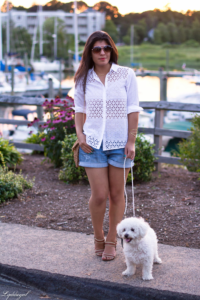 white eyelet buttondown, denim shorts