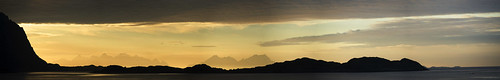 sea sky panorama orange water norway clouds sunrise islands oru lofoten mellow islets 2014 henningsvaer