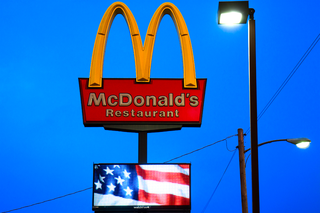 Electronic-flag-at-McDonald's--Wolf-Point