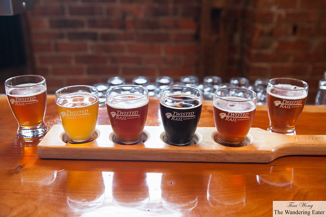 My sampler of all of the beers on tap today