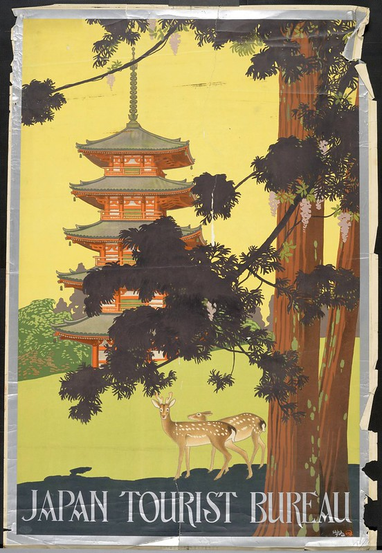 colour printed poster of tall thin pagoda with tree and deer in foreground - tourist poster for Japan