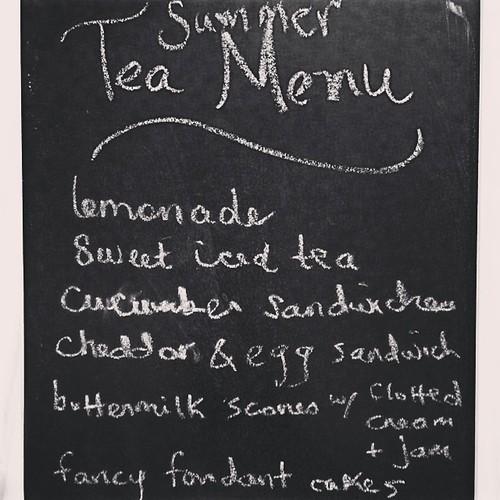 Summer tea party menu.