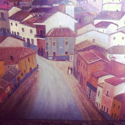 Entrada carretera principal a Mestanza - Oleo sobre Canvas - National Gallery de la calle Calvario by Magdesigildo Gallego Félix (Desi)  mi abuelo #fiestasdemestanza