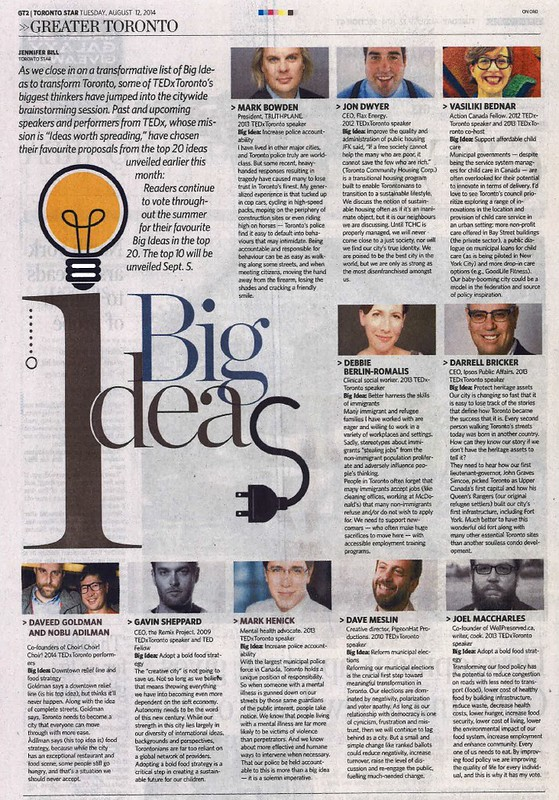 Joel in the Toronto Star   Supporting Big Ideas