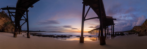 ocean panorama seascape beach sunrise dawn pano jetty australia wharf newsouthwales coal catherinehillbay