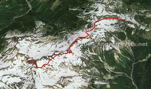 Visual map of my trek on the Ptarmigan Ridge Trail, Mount Baker-Snoqualmie National Forest, Washington