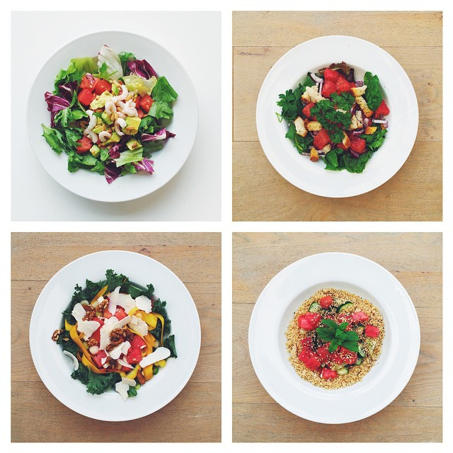 Watermelon week, vote your favourite. 1) With shrimps, 2) with croutons. 3) salted ricotta. 4) couscous. #vegetarian #salad #happydesksalad #desklunch #desk #veg #nutrition #nutritionist #notsdadesklunch #fit #fitness #instafood #instasalad #feelgood #hea
