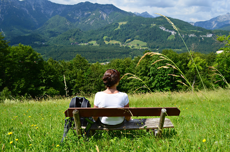 Bench with a view, Ewige Wand route, Bad Goisern, Austria