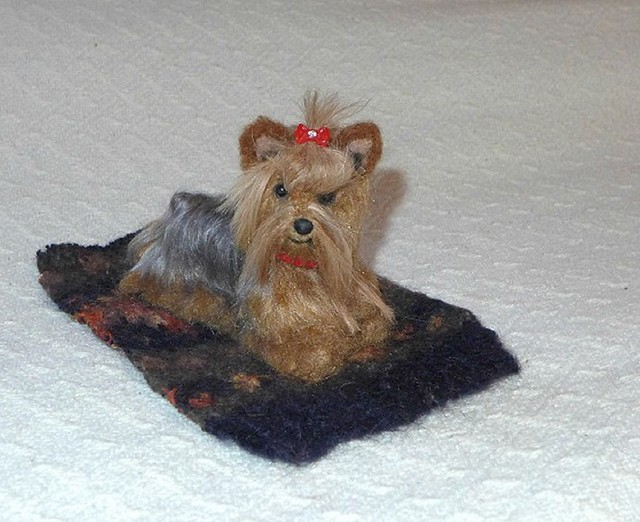 Needle Felted Dog / Custom Pet Portrait / Yorkie Tini by Gourmet Felted