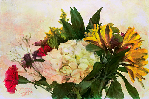 Image of a painted bouquet of flowers
