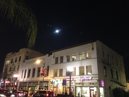 Colorado Blvd. with full moon.