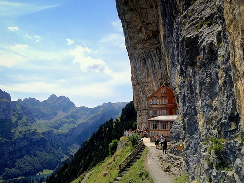mountains rock restaurant switzerland rocks cliffs alpine appenzell alpstein massif ebenalp aescher alpinerestaurant peterch51