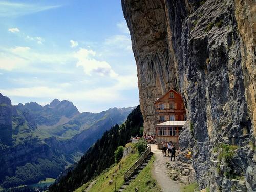 mountains rock restaurant switzerland rocks cliffs alpine appenzell alpstein massif ebenalp aescher alpinerestaurant peterch51
