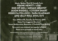 National Collective Stirling Launch Party flyer for 22nd February 2014