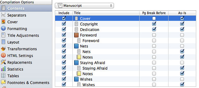 Compile settings for PDF cover
