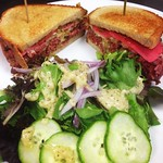 Stop in & try our locally sourced~house brined corn beef brisket sandwich served with fries or choice of a farm fresh salad. #RIBV #brisket #local #salad #pickledradish #watermelonradish