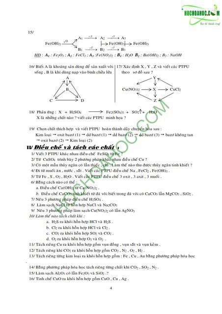 Hóa lớp 9 : Các dạng bài tập hóa học