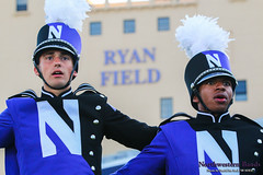 """""""Hail to Purple!"""" ::     The Northwestern University 'Wildcat' Marching Band gathers for its post-game ritual at  Ryan Field after Wildcat Football hosted California on August 30, 2014.  Photo by Daniel M. Reck '08 MSEd."""