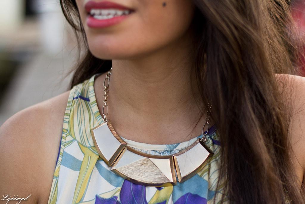 Tropical print dress, straw clutch, white sandals-7.jpg