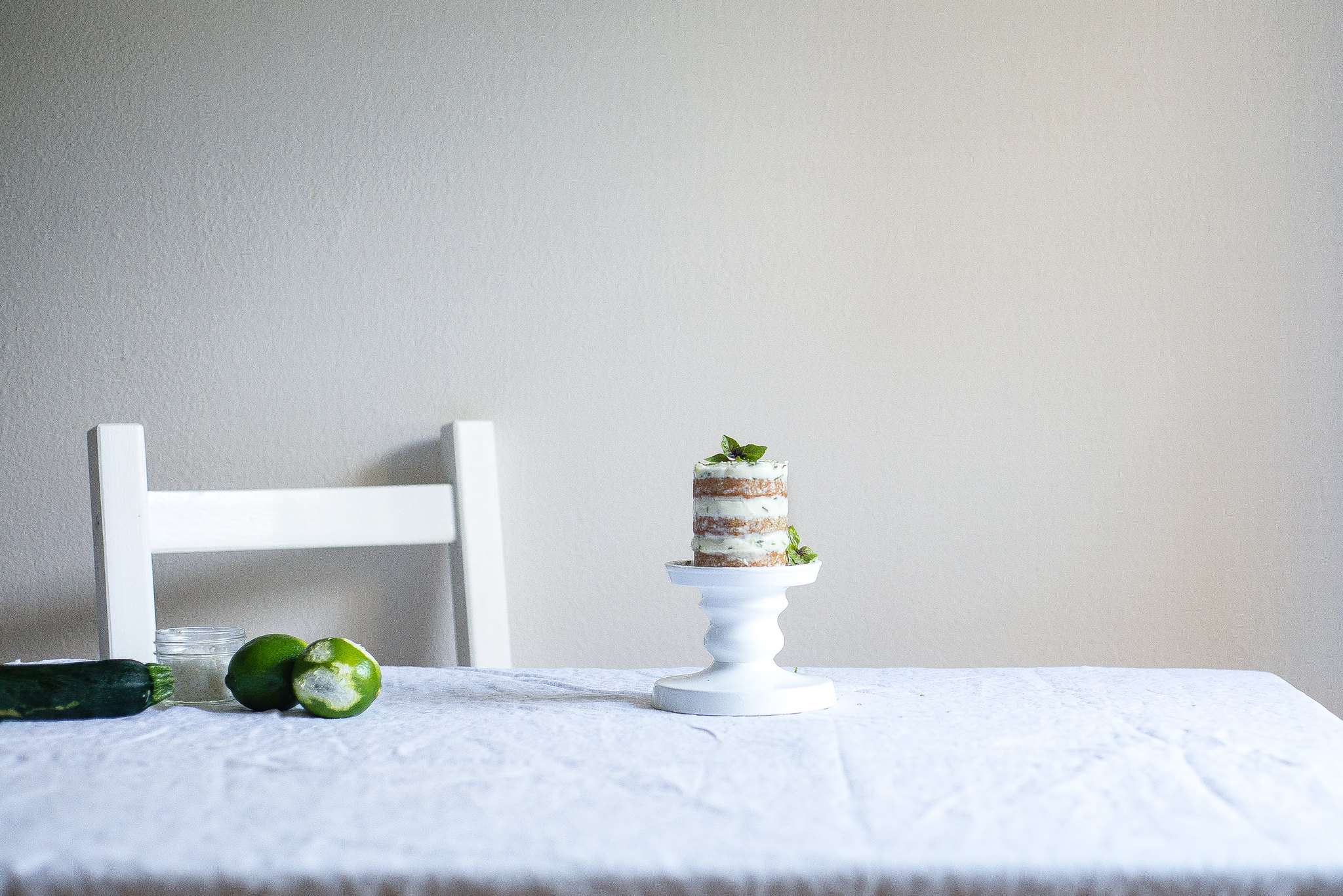 mini zucchini cake with basil-lime cream cheese frosting