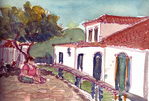 Sketchwalk in the square, Paraty, Brazil