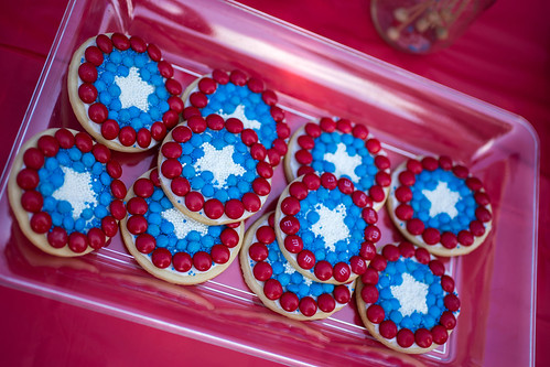 Captain America Party Shield Cookies #HeroesEatMMs #Shop