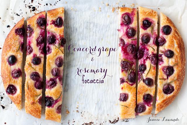 Concord grape and rosemary focaccia sliced | Janice Lawandi @ kitchen heals soul