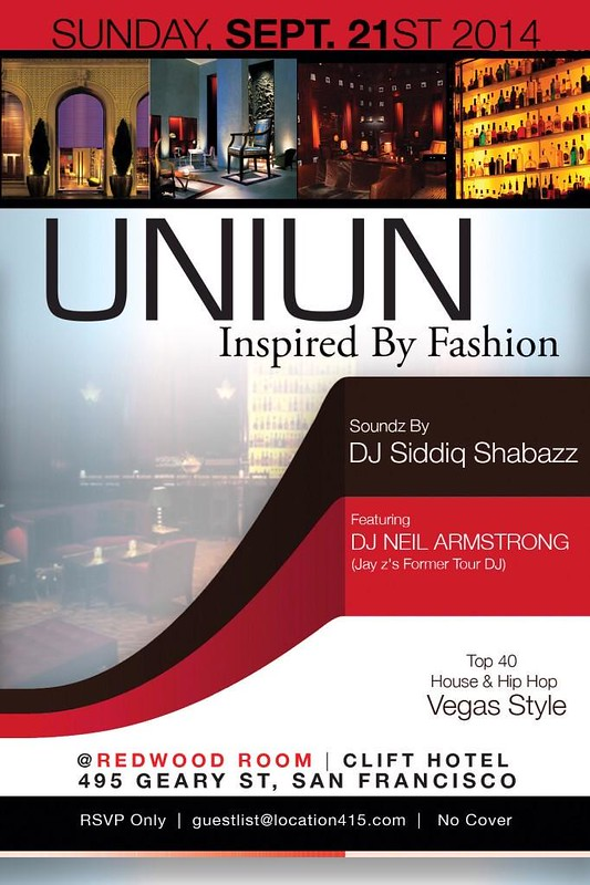 UNIUN • Sunday 9p-2a at The @RedwoodRoomSF inside the Clift Hotel
