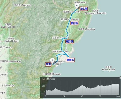 2011.10.18.單車環島_Day10_知本-池上_軌跡圖