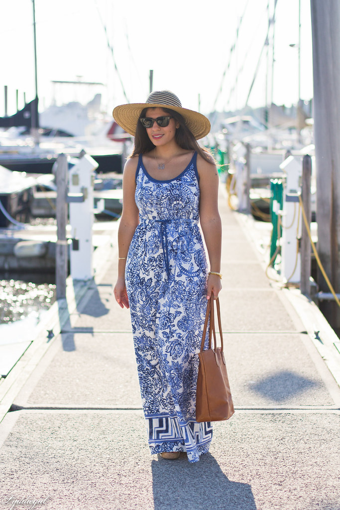 Porcelain print maxi dress, straw hat-1.jpg