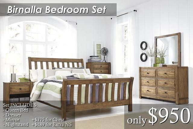 B595-Birnalla Qn Set $950 Chest $375 Extra NS $189