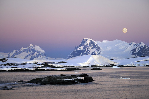 sunset moon mountains water sunrise landscape scenic antarctica moonrise glaciers rise