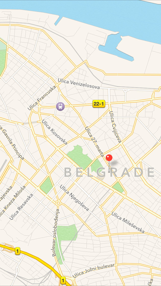Belgrade in Apple Maps, zoomed
