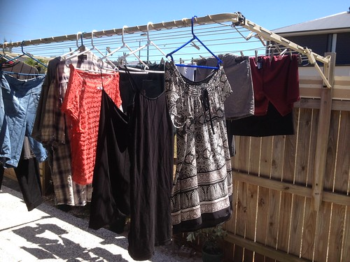 wet washing hanging on the line ....