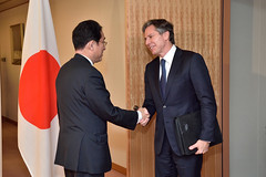 Deputy Secretary of State Antony 'Tony' Blinken is greeted by Japanese Foreign Minister Fumio Kishida before a trilateral meeting with the Japanese Foreign Minister, Japanese Vice Foreign Minister Shinsuke Sugiyama, and Republic of Korea (ROK) First Vice Foreign Minister Lim Sung-nam in Tokyo, Japan, on October 26, 2016. [State Department photo/ Public Domain]