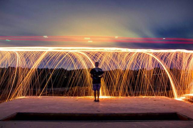 Spark shower selfie!  #dronepaintingseries #droning #dronepainting #longexpo #lightpainting #ANourse