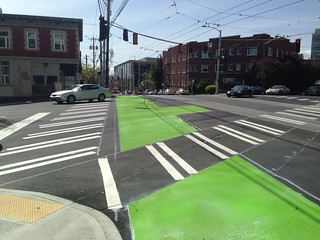 Broadway Cycle Track safety crossing painted at James St @cascadebicycle @seabikeblog @seatransitblog @jseattle