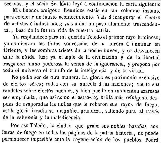 Discurso del Sr. Mata en la inauguración del Centro de Artistas e Industriales de Toledo. El Tajo, 31 marzo de 1866
