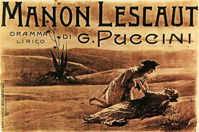Postcard of the poster for the premiere of Manon Lescaut at the Teatro Regio, Turin, in 1893, by Vespasiano Bignami (1841–1929), printed by Ricordi
