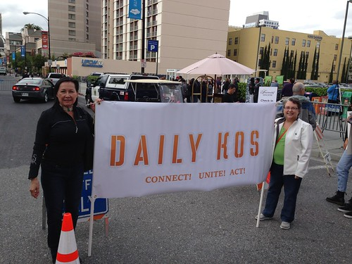 KXL protest, San Jose IMG_2458 navajo & Lusty with the Daily Kos banner at KXL protest