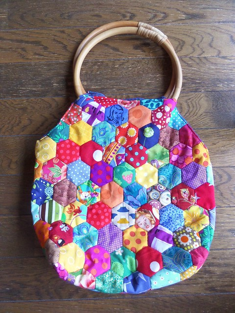 Wooden Handle Patchwork Bag